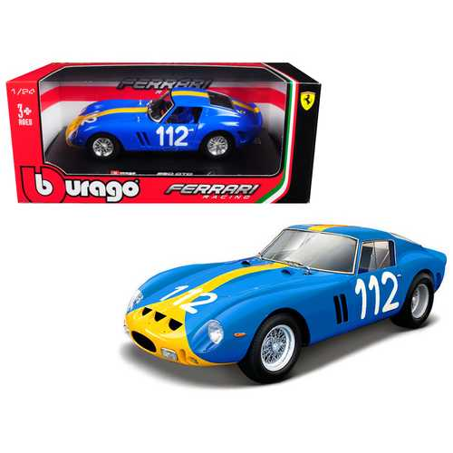 Ferrari 250 GTO #112 Blue with Yellow Stripe 1/24 Diecast Model Car by Bburago