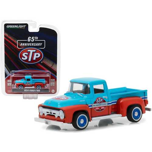 "1954 Ford F-100 Truck Blue and Orange ""STP 65th Anniversary"" Anniversary Collection Series 6 1/64 Diecast Model Car by Greenlight"