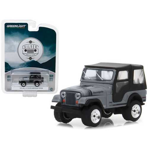 "1979 Jeep CJ-5 Gray with Black Top ""Silver Anniversary Edition"" Anniversary Collection Series 6 1/64 Diecast Model Car by Greenlight"