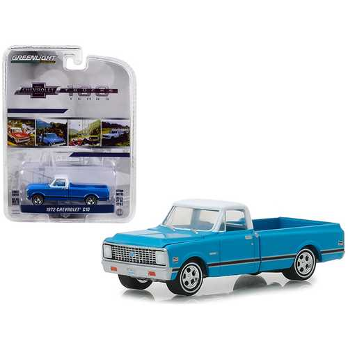 "1972 Chevrolet C-10 Pickup Truck Blue with White Top and Black Stripes ""100 Years Anniversary of Chevrolet Trucks"" ""Anniversary Collection"" Series 7 1/64 Diecast Model Car by Greenlight"