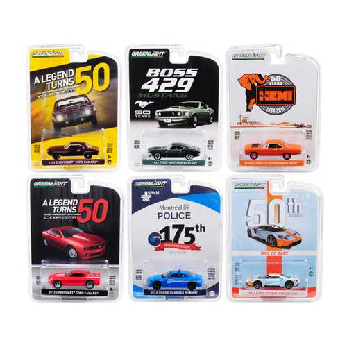 """""""Anniversary Collection"""" 6 piece Set Series 8 1/64 Diecast Model Cars by Greenlight"""