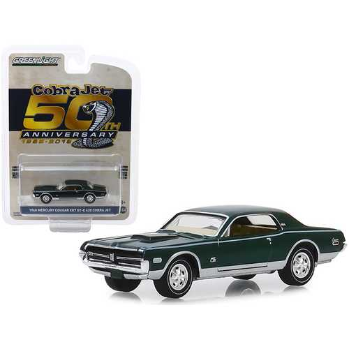 "1968 Mercury Cougar XR7 GT-E 428 Cobra Jet Dark Green ""Cobra Jet 50th Anniversary"" (1968-2018) ""Anniversary Collection"" Series 9 1/64 Diecast Model Car by Greenlight"