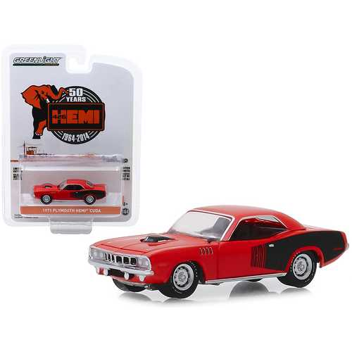 """1971 Plymouth HEMI Barracuda Red with Black Stripes """"426 HEMI 50 Years"""" (1964-2014) """"Anniversary Collection"""" Series 9 1/64 Diecast Model Car by Greenlight"""