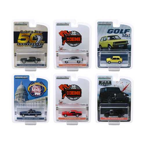 """Anniversary Collection"" Series 9, Set of 6 pieces 1/64 Diecast Model Cars by Greenlight"