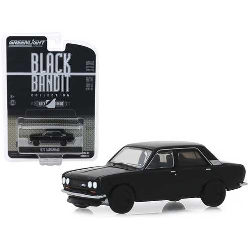 "1970 Datsun 510 4-Door Sedan ""Black Bandit"" Series 22 1/64 Diecast Model Car by Greenlight"