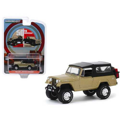 "1966 Jeep Jeepster Commando Gold Metallic with Black Top Moab, Utah (April 2017) ""50th Anniversary"" ""Anniversary Collection"" Series 10 1/64 Diecast Model Car by Greenlight"