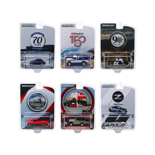 """Anniversary Collection"" Series 10, 6 piece Set 1/64 Diecast Model Cars by Greenlight"
