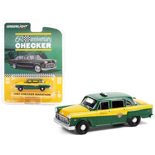 "1960 Checker Marathon Taxi Green and Yellow ""Checker 60th Anniversary"" ""Anniversary Collection"" Series 12 1/64 Diecast Model Car by Greenlight"