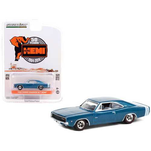 """1968 Dodge Charger R/T HEMI Blue Metallic with White Stripes """"426 HEMI 50 Years Anniversary"""" (1964-2014) """"Anniversary Collection"""" Series 12 1/64 Diecast Model Car by Greenlight"""