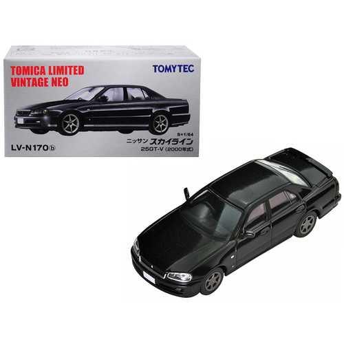 2000 Nissan Skyline 25GT-V RHD (Right Hand Drive) Metallic Black 1/64 Diecast Model Car by TomyTec