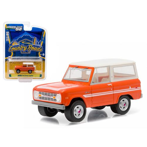 "1976 Ford Bronco Orange ""Explorer Package"" Country Roads Series 14 1/64 Diecast Model Car by Greenlight"