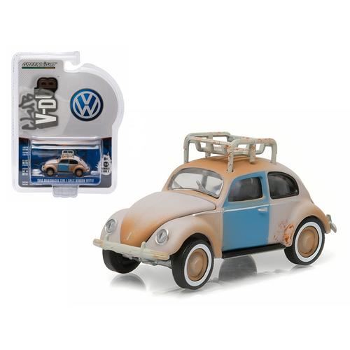1948 Volkswagen Type 1 Split Window Beetle Primer Grey with Roof Rack and Patina 1/64 Diecast Model Car by Greenlight