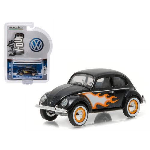1949 Volkswagen Type 1 Split Window Beetle Black with Flames 1/64 Diecast Model Car by Greenlight