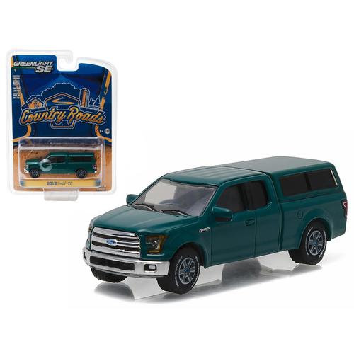 """2015 Ford F-150 with Camper Shell Green Gem """"Country Roads"""" Series 15 1/64 Diecast Model Car  by Greenlight"""