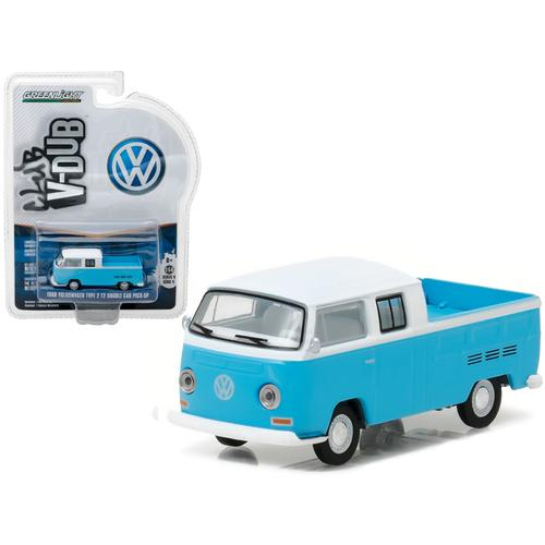 1968 Volkswagen Type 2 T2 Crew Cab Pickup White and Blue 1/64 Diecast Model Car  by Greenlight