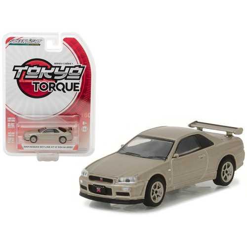 2001 Nissan Skyline GT-R R34 M-Spec Silica Breath Tokyo Torque Series 1 1/64 Diecast Model Car by Greenlight