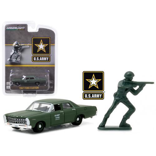 1967 Ford Custom U.S. Army with U.S. Army Soldier Figure 1/64 Diecast Model Car by Greenlight