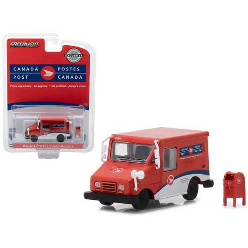 Canada Postal Service (Canada Post) Long Life Postal Mail Delivery Vehicle (LLV) with Mailbox Accessory Hobby Exclusive 1/64 Diecast Model Car by Greenlight