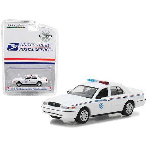 2010 Ford Crown Victoria United States Postal Service (USPS) Police White 1/64 Diecast Model Car by Greenlight