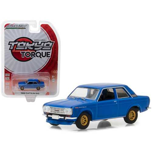 1968 Datsun 510 Street Racer Blue with Gold Wheels Tokyo Torque Series 2 1/64 Diecast Model Car by Greenlight