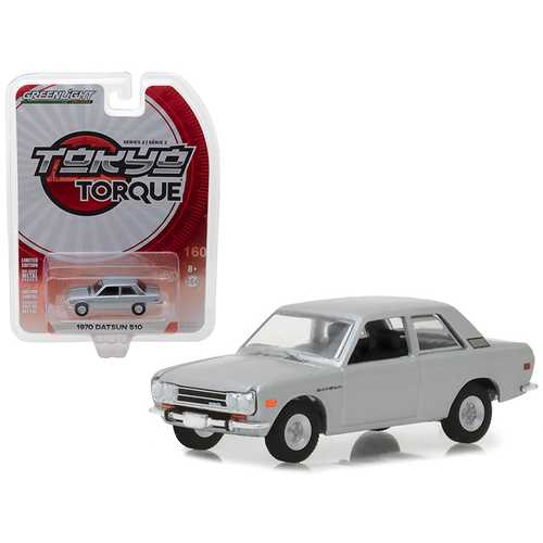 1970 Datsun 510 Silver Tokyo Torque Series 2 1/64 Diecast Model Car by Greenlight