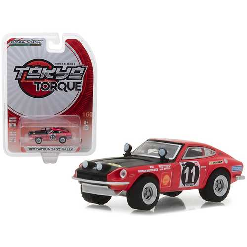 1971 Datsun 240Z Rally #11 Edgar Hermann and Hans Schuller East African Safari Rally Tokyo Torque Series 2 1/64 Diecast Model Car by Greenlight