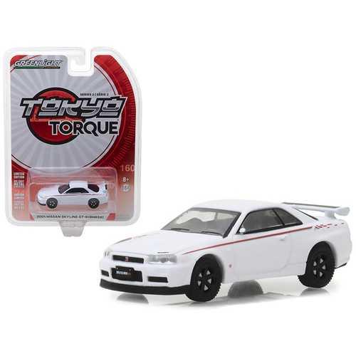 2001 Nissan Skyline GT-R (BNR34) White Pearl Tokyo Torque Series 2 1/64 Diecast Model Car by Greenlight