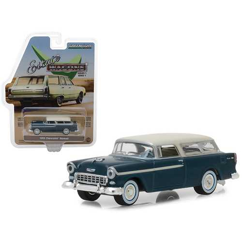"""1955 Chevrolet Nomad Glacier Blue with Cream Top """"Estate Wagons"""" Series 1 1/64 Diecast Model Car by Greenlight"""