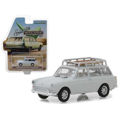 """1968 Volkswagen Type 3 Squareback Lotus White with Roof Rack """"Estate Wagons"""" Series 1 1/64 Diecast Model Car by Greenlight"""