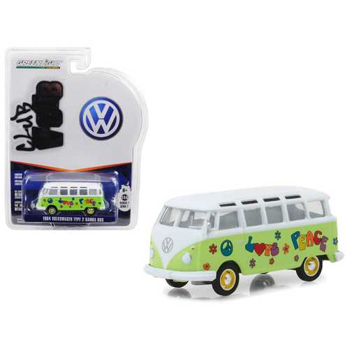 "1964 Volkswagen Type 2 Samba Bus Hippie ""Peace and Love"" Light Green with Top Series 7 Club Vee Dub 1/64 Diecast Model Car by Greenlight"