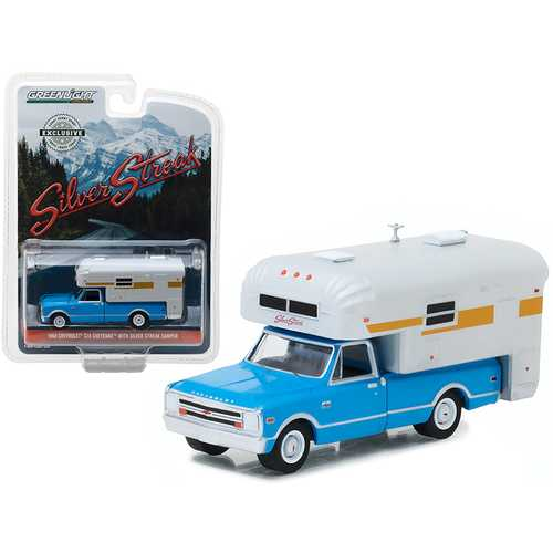 1968 Chevrolet C10 Cheyenne Blue with Silver Streak Camper Hobby Exclusive 1/64 Diecast Model Car by Greenlight