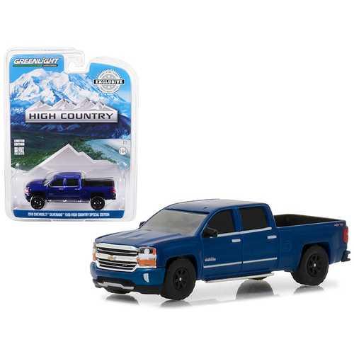 2018 Chevrolet Silverado 1500 High Country Special Edition Deep Ocean Blue Hobby Exclusive 1/64 Diecast Model Car by Greenlight