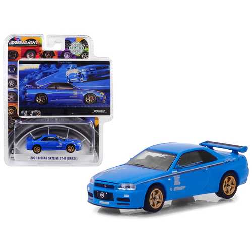 "2001 Nissan Skyline GT-R (BNR34) Blue ""Track Meat"" BFGoodrich Vintage Ad Cars Hobby Exclusive 1/64 Diecast Model Car by Greenlight"