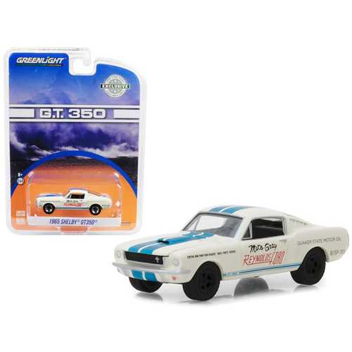 "1965 Ford Mustang Shelby GT350 White with Blue Stripes Reynolds Ford ""Super Horse"" driven by Mike Gray Hobby Exclusive 1/64 Diecast Model Car by Greenlight"