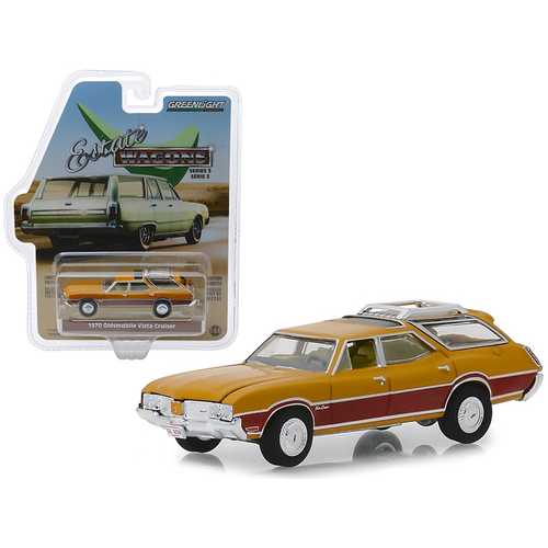 """1970 Oldsmobile Vista Cruiser with Wood Grain Paneling and Roof Rack Nugget Gold """"Estate Wagons"""" Series 3 1/64 Diecast Model Car by Greenlight"""