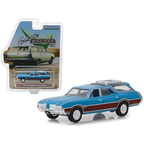 "1972 Oldsmobile Vista Cruiser with Wood Grain Paneling and Roof Rack Viking Blue ""Estate Wagons"" Series 3 1/64 Diecast Model Car by Greenlight"