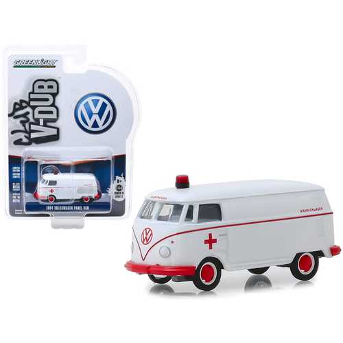 "1964 Volkswagen Panel Van Ambulance White ""Club Vee V-Dub"" Series 9 1/64 Diecast Model Car by Greenlight"