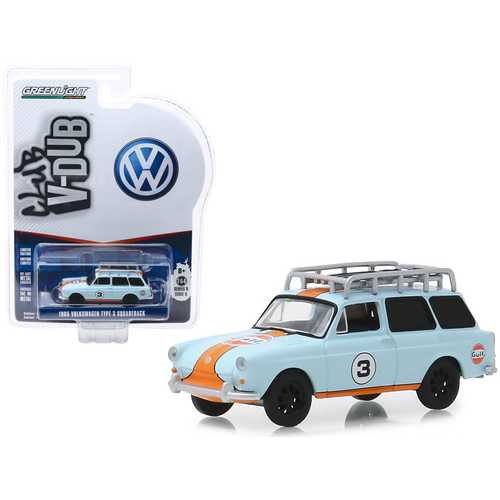 """1965 Volkswagen Type 3 Squareback #3 """"Gulf Oil"""" with Roof Rack """"Club Vee V-Dub"""" Series 9 1/64 Diecast Model Car by Greenlight"""