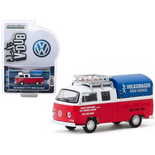 """1976 Volkswagen T2 Type 2 Double Cab Pick-Up with Roof Rack and Canopy """"Volkswagen Road Service"""" Red and White """"Club Vee V-Dub"""" Series 10 1/64 Diecast Model Car by Greenlight"""