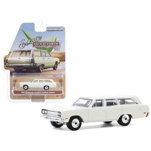 "1969 Plymouth Satellite Station Wagon Alpine White ""Estate Wagons"" Series 5 1/64 Diecast Model Car by Greenlight"