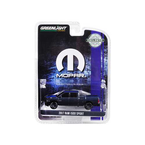 "2017 Dodge Ram 1500 Sport Pickup Truck with Bed Cover Metallic Dark Blue and Blue Stripe ""MOPAR"" ""Hobby Exclusive"" 1/64 Diecast Model Car by Greenlight"