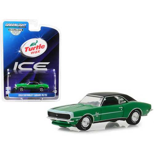 "1968 Chevrolet Camaro RS/SS Green with Black Top ""Turtle Wax Ice"" ""Lasting Diamond Brilliance"" Turtle Wax Ad Cars ""Hobby Exclusive"" 1/64 Diecast Model Car by Greenlight"