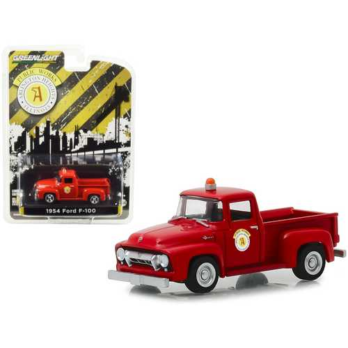"1954 Ford F-100 Pickup Truck Red ""Public Works"" Arlington Heights, Illinois ""Hobby Exclusive"" 1/64 Diecast Model Car by Greenlight"