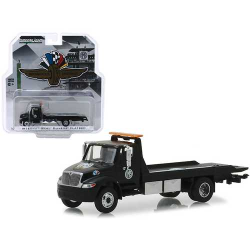 "International Durastar Flatbed Truck Black ""Indianapolis Motor Speedway Wheel, Wings & Flag"" Hobby Exclusive 1/64 Diecast Model by Greenlight"