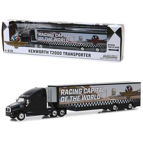 "Kenworth T2000 Transporter ""Indianapolis Motor Speedway Wheel, Wings & Flag"" ""Hobby Exclusive"" 1/64 Diecast Model by Greenlight"