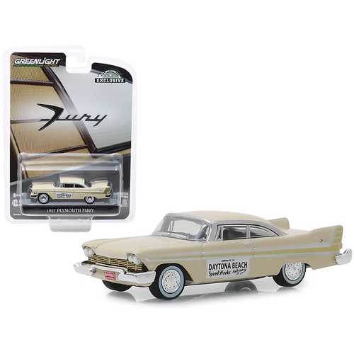 "1957 Plymouth Fury Cream ""Daytona Beach Speed Weeks February 3-17"" (1957) ""Hobby Exclusive"" 1/64 Diecast Model Car by Greenlight"