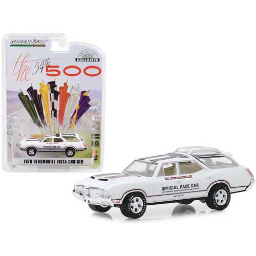 """1970 Oldsmobile Vista Cruiser White """"54th Annual Indianapolis 500 Mile Race"""" Oldsmobile Official Pace Car """"Hobby Exclusive"""" 1/64 Diecast Model Car by Greenlight"""