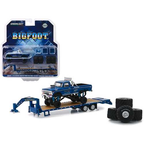 "1974 Ford F-250 Monster Truck ""Bigfoot #1 The Original Monster Truck (1979)"" with Gooseneck Trailer and Regular and Replacement 66"" Tires ""Hobby Exclusive"" 1/64 Diecast Model Car by Greenlight"