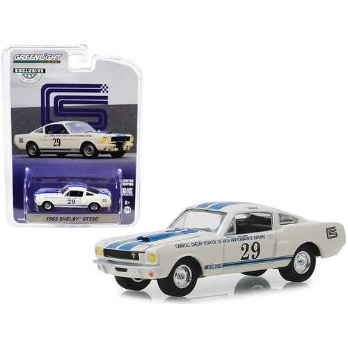 "1965 Shelby GT350 #29 White with Blue Stripes ""Carroll Shelby School of High Performance Driving"" ""Hobby Exclusive"" 1/64 Diecast Model Car by Greenlight"