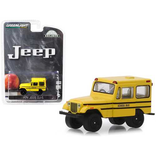 """1974 Jeep DJ-5 School Bus Yellow """"Hobby Exclusive"""" 1/64 Diecast Model Car by Greenlight"""